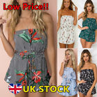 Womens Off Shoulder Jumpsuits Playsuits Ladies Floral Printed Mini Pants Casual