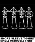 PIRATE CODE SEE EVIL HEAR EVIL SPEAK EVIL CARIBBEAN SKULL SKELETON SWORD T-SHIRT