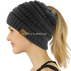 Women BeanieTail Messy High Bun Winter Warm Fleece Pony Tail Beanie Hat Knit Cap