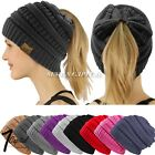 Kyпить Women BeanieTail Messy High Bun Winter Warm Fleece Pony Tail Beanie Hat Knit Cap на еВаy.соm