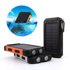 Waterproof 50000mAh Solar Power Bank 2USB LED Visible Battery Charger for Phone