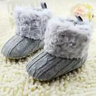 Infant Baby Girl Cotton Fleece Fur Knitted Snow Boots Warm Soft Sole Crib Shoes