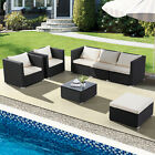 3/4/5/6/7pcs Patio Rattan Wicker Set Garden Sectional Couch Outdoor Sofa & Table