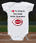Cincinnati Reds Onesie Bodysuit Shirt Love To Watch WIth Grandma on Ebay