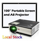 """Android 6.0 Projector Bluetooth Wifi Home Theater Wireless HDMI USB+100"""" Screen"""