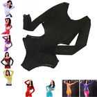 New Women Mesh Belly Dance Top Body Suit Wear w Shorts Stretch Long Sleeve