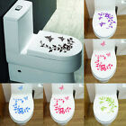 Flowers Toilet Seat Wall Sticker Bathroom Decoration Butterfly Decal Decoration