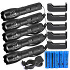 Lot Tactical 50000LM T6 High Power LED Zoom Flashlight + 18650 &Charger USA
