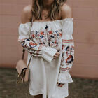 Women Off Shoulder Dress Casual Frill Tops Fashion Loose Embroidery Bl FO