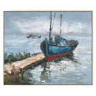 Modern Abstract Art Hand Painted Seascape Boat Oil Painting Home Decor Wall