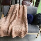 Warm Chunky Knit Blanket Thick Yarn Merino Polyester Hand Woven Bulky Knitted image