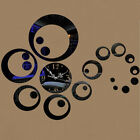 3D Modern Mirror Wall Clock Creativity Circles Watch Sticker DIY Decal Set Decor