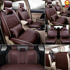 11pcs Car Seat Cover Protector+cushion Front Rear Full Set Pu Leather Interior