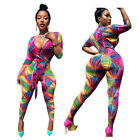 Sexy Women V Neck Digital Print Casual Belted Club Casual Long Bodycon Jumpsuits