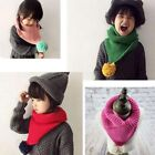 Colorful Triangular Shawl Scarf Baby Children Winter Collar With Soft Ball Shan