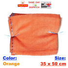 50x ORANGE RASCHEL NET SACK BAGS MESH FRUITS VEGETABLES WOOD CARROT POTATO CHEAP