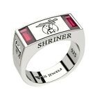 Men's 0.925 Sterling Silver Freemason Shriner Simulated Ruby Masonic Ring