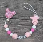 Personalised Name Silicone Baby Pacifier Clips Chain Nipple with Mouse Holder
