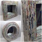 Retro WALL MIRROR Recycled Multi-Color Paper Framed Round or Square CHOICE