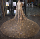 Sparkly Gold Silver Bridal Veils Tulle Net Wedding Veil Cathedral Train Veils