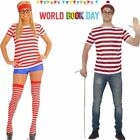 Mens & Womes Licensed Wheres Wally Fancy Dress Kit Wheres Wally Set size S-XXL