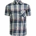 Mens Short Sleeve Check Cotton Summer Casual Shirt Work Ex-Store Casual Tops