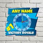 Personalised Victory Royale Gaming Clock, Learn to tell time Boys Wall Clock