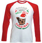 YORKSHIRE TERRIER  CHRISTMAS HAVE A HOLLY - NEW RED SLEEVED TSHIRT