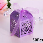 50X Colorful Wedding Favours Candy Bags Sweets Boxes Table Decors & Ribbon 5A46