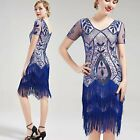 US STOCK Vintage 1920s Unique Art Deco Fringed Sequin Dress 20s Flapper beaded