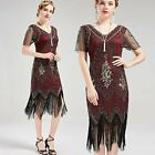 US STOCK Vintage Red and God Unique 1920s Art Deco Fringed Sequin Dress 20s Flap