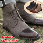 Men Retro Martin Ankle Boots High Top Leather Combat Lace Up Casual Work Shoes