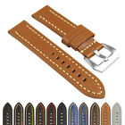 StrapsCo Heavy Duty Men's Leather Watch Band w/ Stitching - Quick Release Strap image