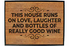 Funny Doormat Novelty Door Mat Birthday Home Office - this house runs on love