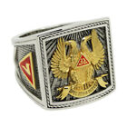 Scottish Rite 32 Degree Wings Up Masonic Knights Templar Silver 18k Gold Plated