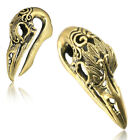 BRASS EAR WEIGHTS BIRD SKULL PLUGS EARRINGS GAUGE PLUG GAUGES GOTHIC  image