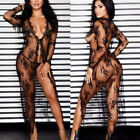 Women Sheer Lace Bikini Cover-up Summer Cardigan Swimwear Beach Long Dress