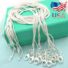 "Xmas Wholesale 925 Sterling Silver Lots 10pcs 1mm Snake Chains 16""-30"" Necklace"