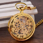 Vintage Antique Steampunk Transparent Tire Mechanical Pocket Watches Necklace image