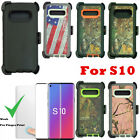 For Samsung Galaxy S10 Defender Camo Case W/ Screen & Belt Clip Fits OtterBox