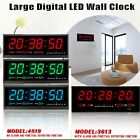 Digital Large Big Jumbo LED Room Wall Desk Clock W/ Calendar Temperature Display