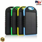 Waterproof 5000mAh 2USB Solar Power Bank 9LED Peck Battery Charger For Samsung