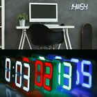 3D Modern Design Digital LED USB Wall Clock Alarm Table 12/24 Hour Display US