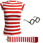 New Mens Womens outfit Red & White Fancy Dress Kit Set Book Week Day costume