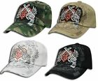 Crossed Guns/Pistols Embroidered Heart w/ Wings Baseball Hat/Cap FREE SHIP