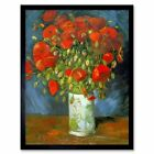 Vincent Van Gogh Red Poppies Old Master Painting 12X16 Inch Framed Art Print