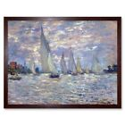 Claude Monet Les Barques Old Master Painting 12X16 Inch Framed Art Print