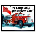 Advert Emergency Service Vehicle Fire Truck Engine Usa 12X16 Inch Framed Print