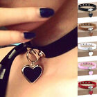 Trendy Women Alloy Heart Drop Pendant Rock Punk Faux Leather Choker Necklace image