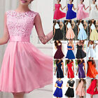 Womens Sleeveless Skater Dress Lace Cocktail Prom Gown Swing Pleated Mini Dress